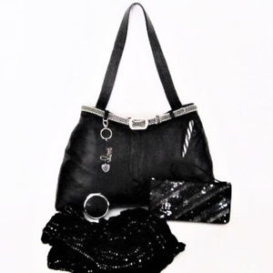 Leather Bag Upcycled Jeans Sequins Accessories XL